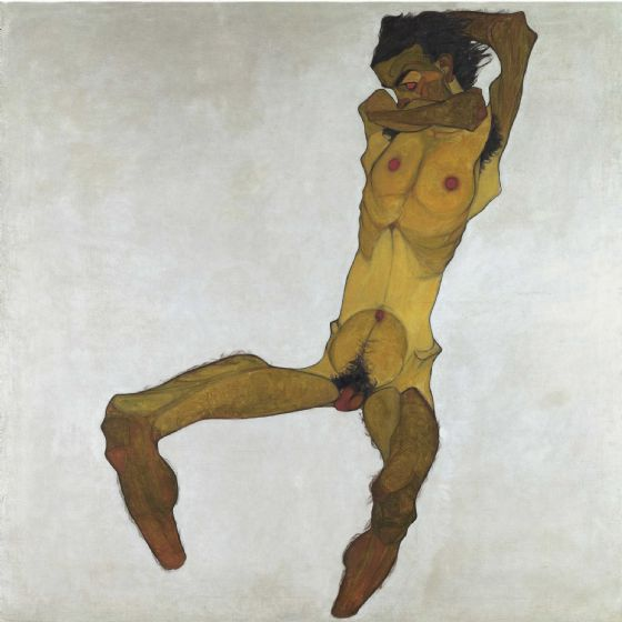 Schiele, Egon: Seated Male Nude (Self-Portrait). Fine Art Print/Poster (003711)